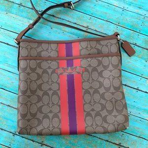 {coach} varsity stripe crossbody bag
